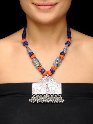 Purple-Orange Thread Brass Necklace with Floral Motif