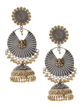 Dual Tone Brass Jhumkis with Lord Ganesha Motif