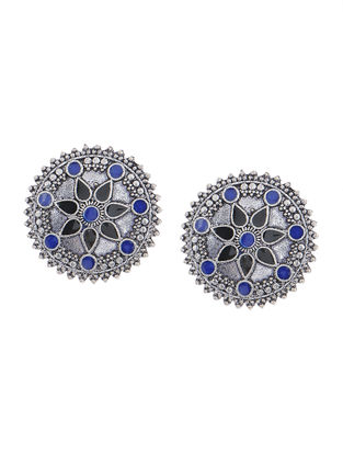 Blue-Black Enameled Earrings with Floral Design