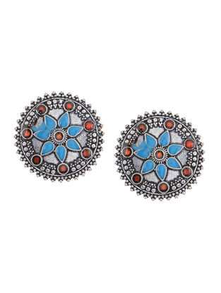 Blue-Orange Enameled Earrings with Floral Design
