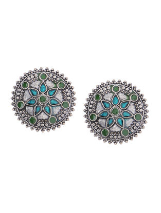 Blue-Green Enameled Earrings with Floral Design