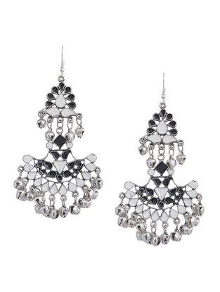 White-Black Enameled Earrings