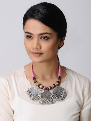 Pink-Brown Thread Necklace