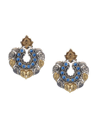 Blue Dual Tone Brass Earrings