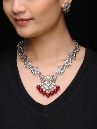 Red Dual Tone Brass Necklace with a Pair of Earrings