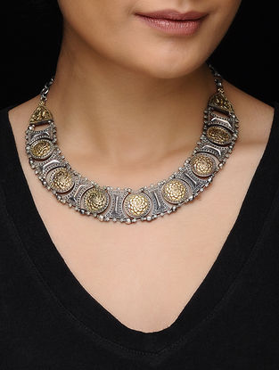 Dual Tone Brass Necklace with Floral Motif