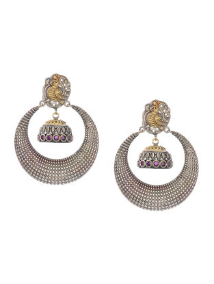Pink Dual Tone Earrings with Peacock Motif