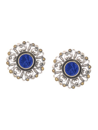 Blue Glass Dual Tone Brass Earrings