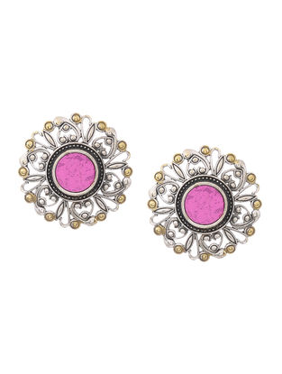 Pink Glass Dual Tone Brass Earrings