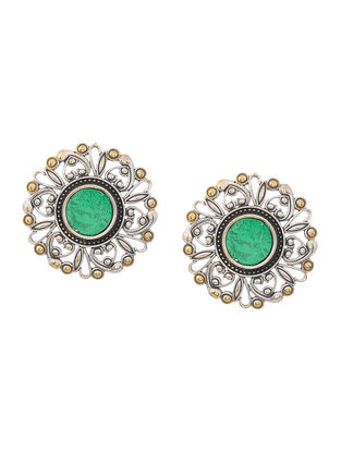 Green Glass Dual Tone Brass Earrings