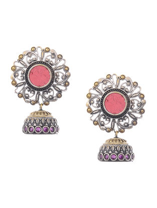 Red Glass Dual Tone Brass Jhumkis