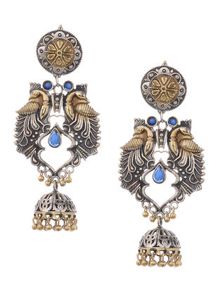 Blue Dual Tone Jhumkis with Peacock Design