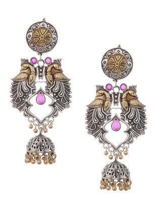 Pink Dual Tone Jhumkis with Peacock Design
