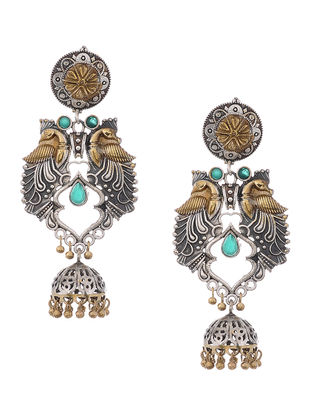 Green Dual Tone Jhumkis with Peacock Design