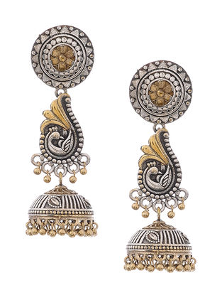 Dual Tone Brass Jhumkis with Peacock Motif