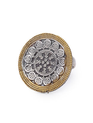 Dual Tone Adjustable Brass Ring
