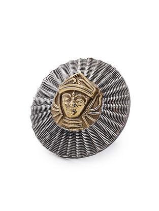 Dual Tone Adjustable Brass Ring with Goddess Durga Motif