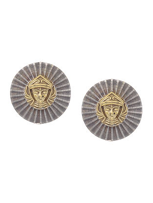 Dual Tone Brass Earrings with Goddess Motif