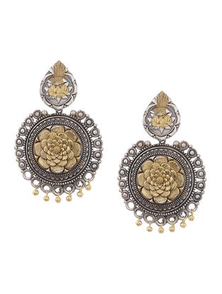 Dual Tone Brass Earrings with Floral Motif