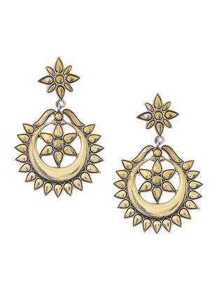 Dual Tone Brass Earrings with Floral Design
