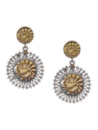 Dual Tone Brass Earrings with Peacock Motif