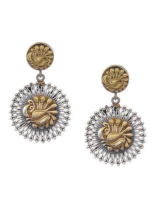 Dual Tone Brass Earrings with Peacock Motif