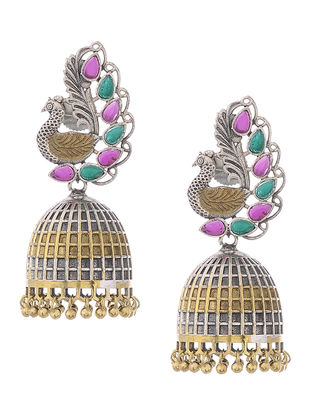 Pink-Green Dual Tone Brass Jhumkis with Peacock Design