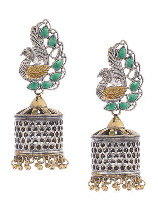 Green Dual Tone Brass Jhumkis with Peacock Design