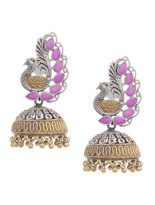 Pink Dual Tone Brass Jhumkis with Peacock Design