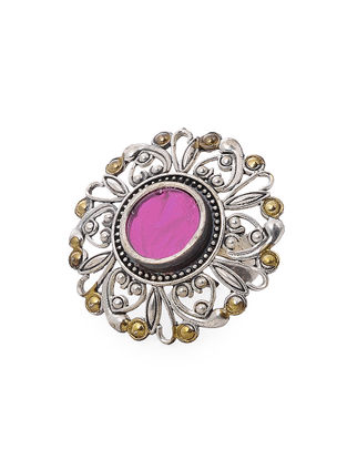 Pink Glass Dual Tone Adjustable Brass Ring