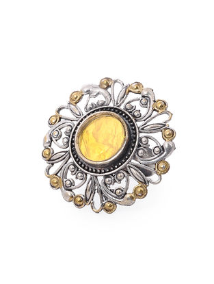 Yellow Glass Dual Tone Adjustable Brass Ring