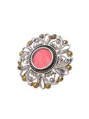Red Glass Dual Tone Adjustable Brass Ring