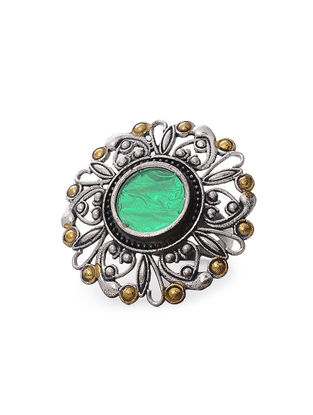 Green Glass Dual Tone Adjustable Brass Ring