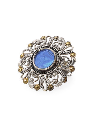 Blue Glass Dual Tone Adjustable Brass Ring