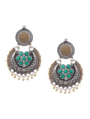 Green Dual Tone Brass Earrings with Floral Design
