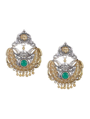Green Dual Tone Brass Earrings