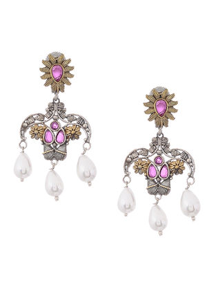 Pink Dual Tone Brass Earrings
