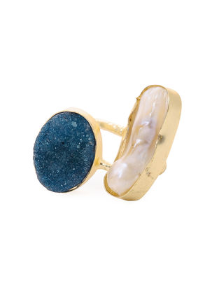 Blue Druzy and Pearl Gold-plated Brass Adjustable Ring
