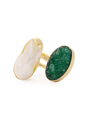 Green Druzy and Pearl Gold-plated Brass Adjustable Ring