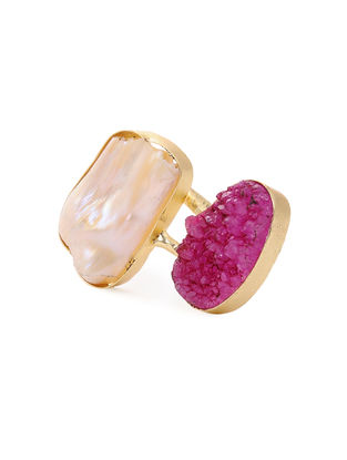 Pink Druzy and Pearl Gold-plated Brass Adjustable Ring