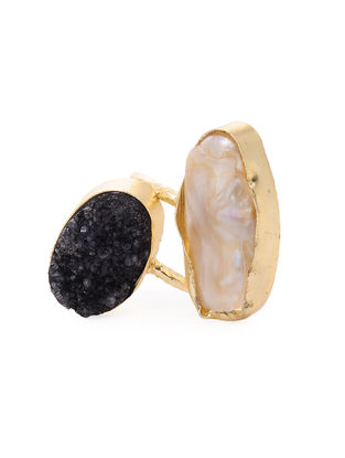 Black Druzy and Pearl Gold-plated Brass Adjustable Ring