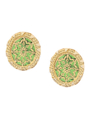 Green Gold-plated Brass Earrings with Theva Work