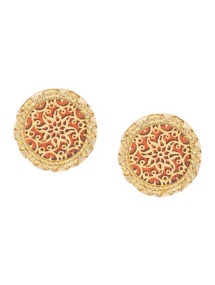 Red Gold-plated Brass Earrings with Theva Work