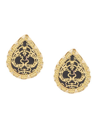 Black Gold-plated Brass Earrings with Theva Work