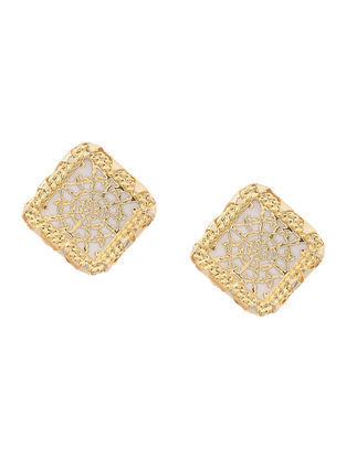White Gold-plated Brass Earrings with Theva Work