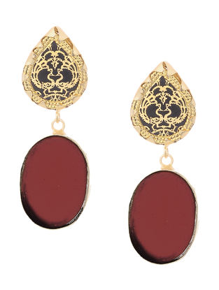 Red Onyx Gold-plated Brass Earrings with Theva Work