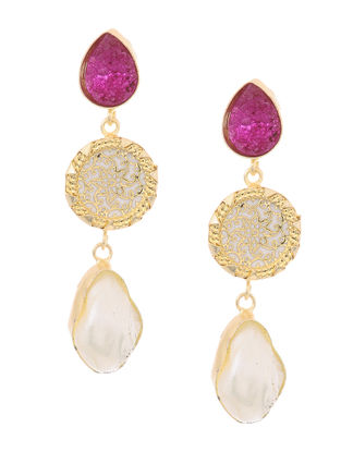 Pink Druzy and Pearl Gold-plated Brass Earrings with Theva Work