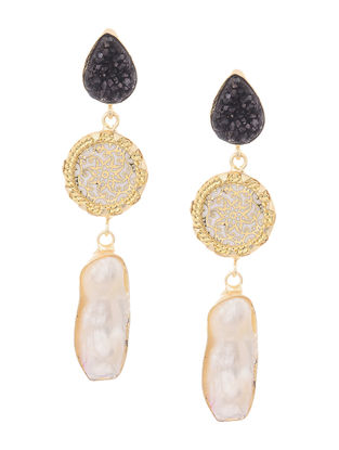 Black Druzy and Pearl Gold-plated Brass Earrings with Theva Work