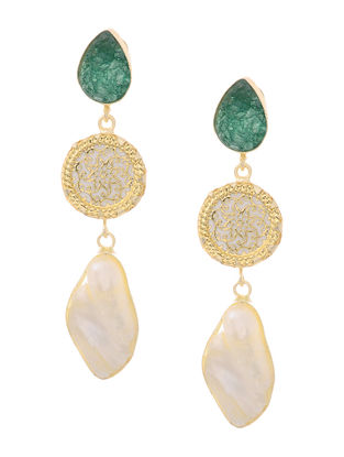Green Druzy and Pearl Gold-plated Brass Earrings with Theva Work
