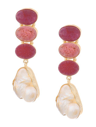 Pink Druzy and Pearl Gold-plated Brass Earrings